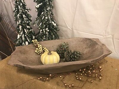 Primitive Rustic Country Hand Carved Large/Deep Wood Dough Bowl -Centerpiece