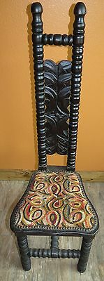 Antique Vintage Narrow High Back Studded Wood Jacobean Velvet Chair