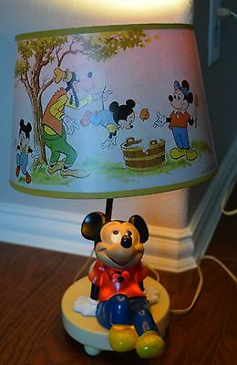 Working Vintage Disney Mickey Mouse Lamp Night Light Shade Leviton