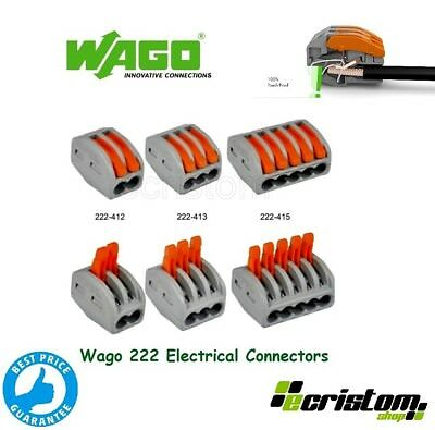Wago 222 Electrical Connectors Wire Block Clamp Terminal Cable Reusable 2,3,5