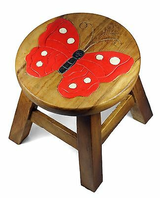 Childs Childrens Kids Wooden Stool Chair. Butterfly
