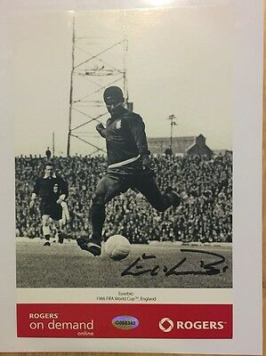 EUSEBIO Signed Benfica & Portugal National 1966 Soccer Football World Cup Photo