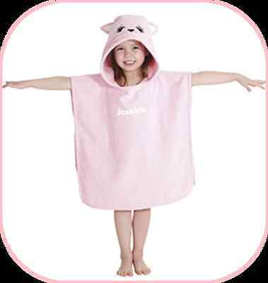 BNWT PRETTY KITTY 100% SUPERSOFT PONCHO HOODED TOWEL PINK 50 x 50 cm