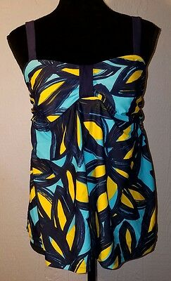 Liz Lange Maternity Swim Tankini Top Large L Blue Yellow