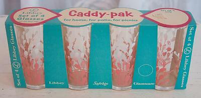 """Vintage Set/4 Retro Beverage 5"""" Libbey Drinking Glasses Pussywillow Swanky Swigs"""