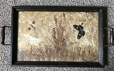 Vintage Dried Flower and Butterfly Wood Serving Handled Tray Glass Insert 17.25""