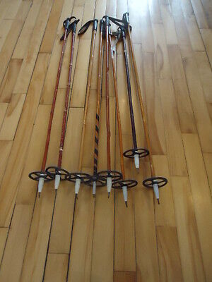 Vintage   Bamboo Ski Poles LOT SELLING AS PARTS
