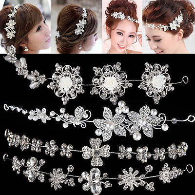 Prom Party Bridal Flower Crystal Rhinestone Headband Hair Band Tiara Clear Crown