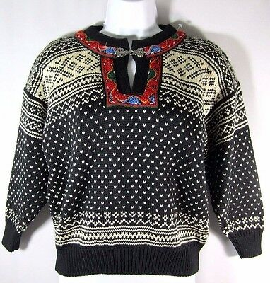 Dale of Norway Sweater Black Setesdal Nordic Fair Isle Lambswool Youth 8 Ar MINT