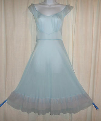 Vtg Luxite pink blue nightgown negligee gown w triple tiered sheer chiffon S 34