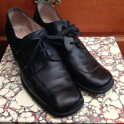 Vintage style lace up granny women  black leather shoes 41 or 10  Cable Co 1901
