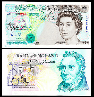 Bank of England 5 Pounds £5 1st Prefix A01 G.M. Gill 1990 aUNC Note Rare