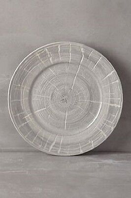 Anthropologie Set 4 BRISTLECONE Dinner Plates Natural Knot Tree Gray New