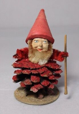 Vintage Christmas West Germany Pinecone Elf Dwarf Santa Gnome Red Mica Chenille