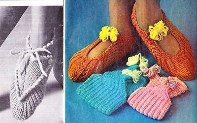 2 EASY RIBBED SLIPPERS - 8ply or DK - COPY socks knitting pattern