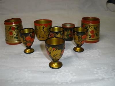 Assorted Russian Hand Painted Folk Art Containers & 4 Eggcups