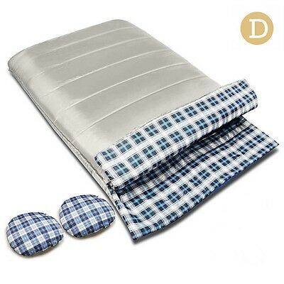 NEW 2 in 1 Weisshorn Outdoor Camping Double Envelope Thermal Sleeping Bag Cream