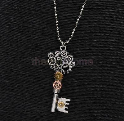 Retro Steampunk Gear Key Design Pendant Necklace Vintage Victorian Jewelry