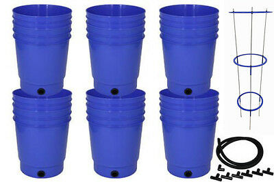 Hydroponics Grow Bucket set Ebb Gravity Flow tubing, fittings and tomato cage
