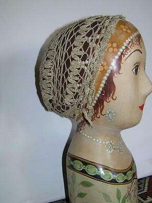 Vintage Victorian Style Crochet Baby Childs Bonnet stretch to fit