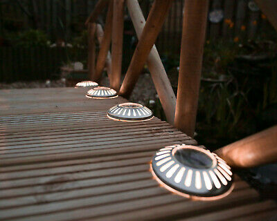 Modern Solar Powered Silver LED Garden Lights Fence Wall Path Patio Deck Lights