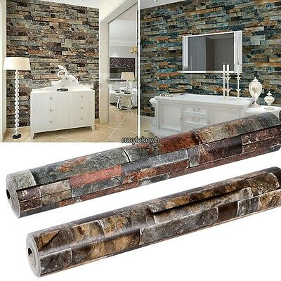 New 10M Roll Stacked 3d Real Look Brick/Stone Wallpaper Blue/Beige Vinyl