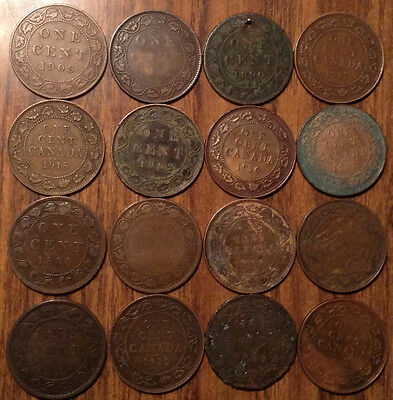 Lot Of 16 Canada Large Cents Lot Of 16 Coins Vickies/edward/george #a2