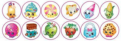 Shopkins Mix -  Edible Image ICING cupcake Toppers x 12