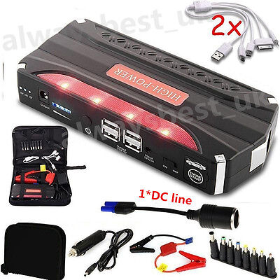 Portable 80000mAh 4USB Car Jump Starter  12V Battery Charger Power Bank