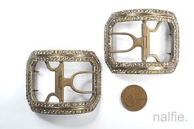 PAIR of ANTIQUE ENGLISH GEORGIAN PERIOD SILVER PASTE SHOE BUCKLES c1780