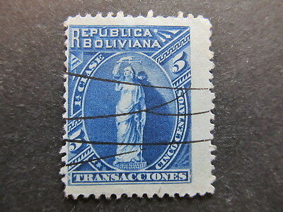 A3P23 Bolivia Revenue Stamp 5c used #67