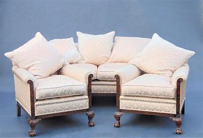 Mahogany Ball & Claw Three Piece Suite Sofa / Settee & Chairs