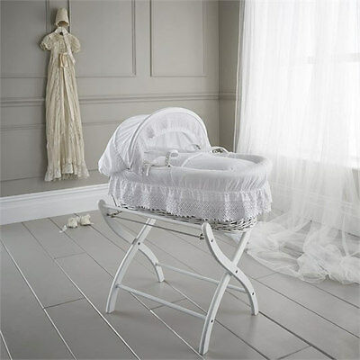 Brand new Izziwotnot royal lace white wicker moses basket white & white stand