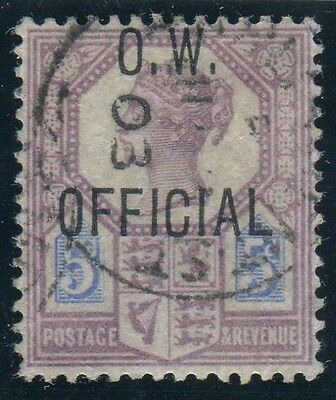Sg O34 5d Purple & Blue OVPT O.W. OFFICIAL.  A very fine used example with cert