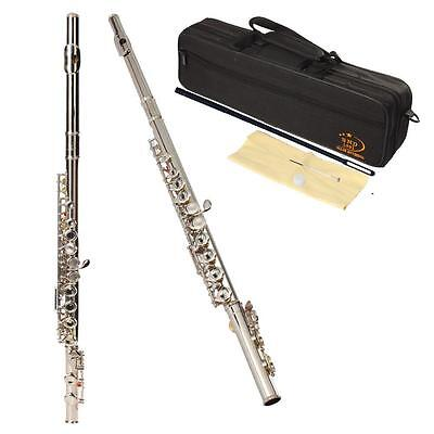 New Silver Plated 16 Closed Holes C Key Flute with Case Cloth Screwdriver | UK