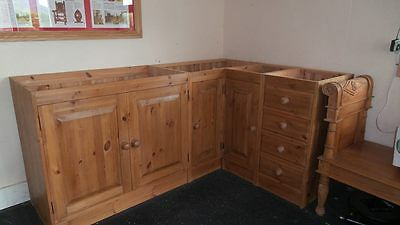 L-shape solid wood ex-display kitchen units