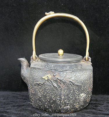 "9.2"" Antique Marked Japan Japanese Iron House Tree Teapot Tetsubin Teakettle"