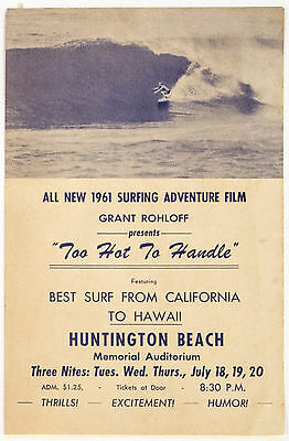 1961 Surf Movie Poster – TOO HOT TO HANDLE – Grant Rohloff