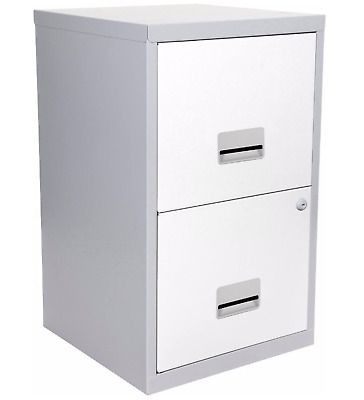 2 DRAWER PIERRE HENRY STEEL SILVER / WHITE FILING CABINET / A4 NEW + FREE 24h