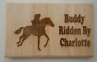 Personalised  Plaque / Sign / for your Horse or Pony Stable OR  Trailer