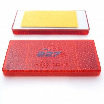 2x Red Rectangular Reflectors, Self-Adhesive, 69mm x 31.5mm- Gatepost Trailer
