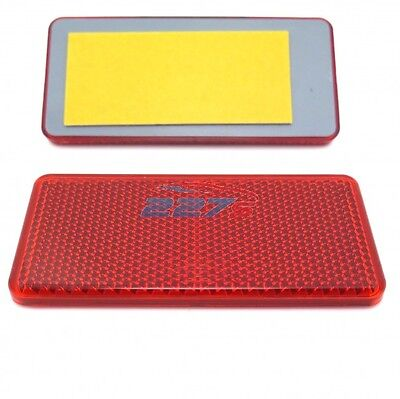 2x Red Rectangular Reflectors, Self Adhesive, 94mm x 44mm- Gatepost Trailer etc