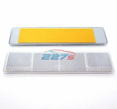 2x White Large Rectangular Reflectors, Self-Adhesive, 173mm x 40mm, Trailers