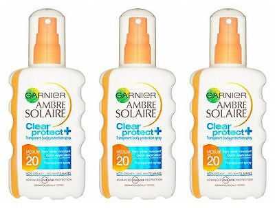 3 x Garnier Ambre Solaire CLEAR Protect Spray SPF20 Medium 200ml