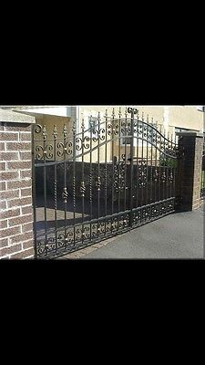 Brand New  Wrought Iron Driveway Gates 6-7Ft High 12Ft Opening Railings/steel/