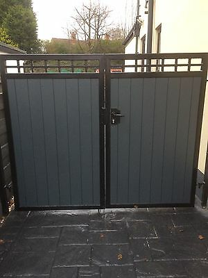 BRAND NEW METAL FRAME TIMBER CLAD DRIVEWAY GATES  7FT HIGH wrought iron steel
