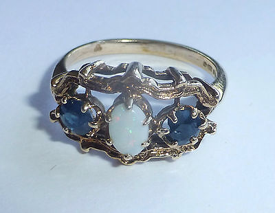 9 Carat Gold Retro Ring Set With Opal & Sapphires