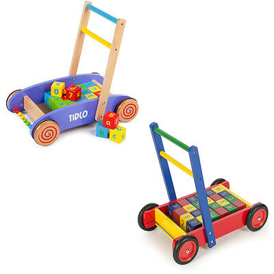 Tidlo Toys Wooden Baby Walker with ABC Blocks CHOICE OF COLOUR, ONE SUPPLIED NEW