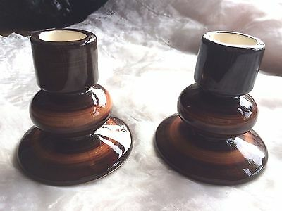 PAIR VINTAGE 1970s JERSEY POTTERY CANDLE HOLDERS - KITSCH / RETRO