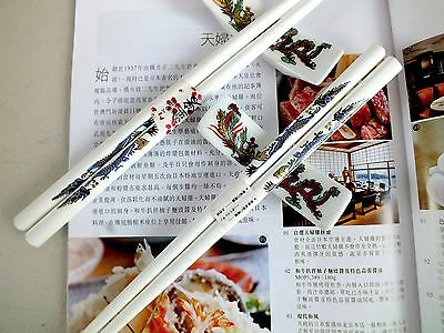 2 Chinese Gold Dragon White Chopsticks Ceramic Stand Japanese Dinner Party